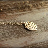 Strawberry Necklace in Sterling Silver by saffronandsaege on Etsy