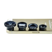 VicTsing? Magnetic Detachable Fish-Eye Lens Wide Angle Micro Lens Telephoto Lens 4-in-1 Kits Sliver fpr Smartphones and Tablets with flat camera (Black)