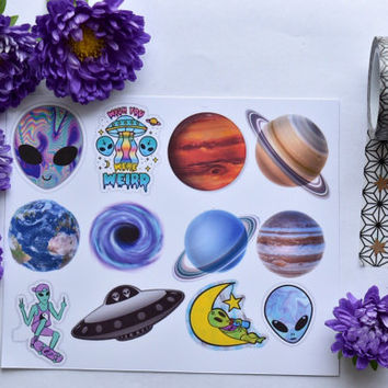 Alien, space stickers / laptop sticker / phone sticker / sticker pack (13) / aliens sticker / space stickers / tumblr stickers