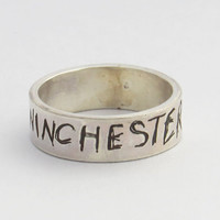 Supernatural silver etched WINCHESTER ring