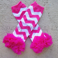 Pink Chevron Leg Warmers - Girl Birthday Photo Prop - Baby Leg Warmers with Ruffles - Knee Pads -Sized for Infant, Toddler and Young Girls