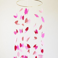 Butterfly Mobile - Nursery Decor Home Baby Housewares Pink Hot Pink Gold Girl