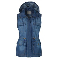 Anorak Military Tencel Sleeveless Drawstring Denim Vest with Pockets (CLEARANCE)