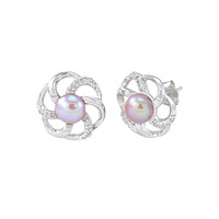 Pink Pearl Flower Earrings 6 Petal with White CZ .925 Sterling Silver - 13mm