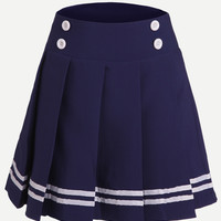Blue Striped Trim Button Embellished Pleated Skirt