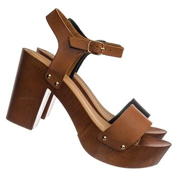 Kyrie04 Sculpted Block Heel Platform Clog - Women Lightweight Hallow Wood Sandal
