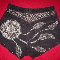 Dream Catcher and Feather hand bleached high waisted black denim shorts