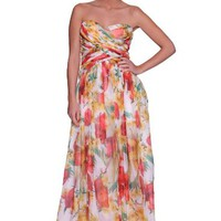 Beautifly Women's Strapless Cross Floral Print Chiffon Evening Gown