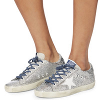 Superstar Blue Lace Silver Glitter Sneakers