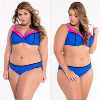 Stylish Patchwork Plus Size Trendy Swimsuit Bikini