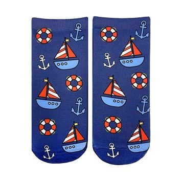 Nautical Sailboat Ankle Socks