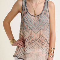 Willow & Clay Beaded Pattern Tank Top