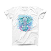 The Flourished Blue & Purple Sacred Elephant ink-Fuzed Front Spot Graphic Unisex Soft-Fitted Tee Shirt