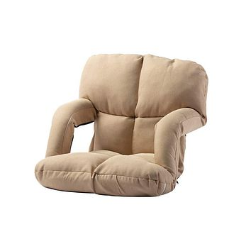 Besthls Folding Lazy Sofa Floor Chair Adjustable Floor Gaming Lounger Bed Chaise Couch with Armrests Beige