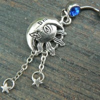 Celestial belly ring  sun and moon  belly ring moon goddess sun moon stars gypsy hippie boho and hipster  new age style