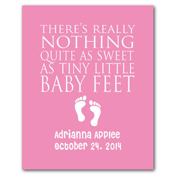 Personalized Nursery Print - There's really nothing quite as sweet as tiny little baby feet - inspirational print - Typography - Baby Shower