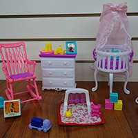 Barbie Size Dollhouse Furniture- Gloria Baby Home Nursery Set