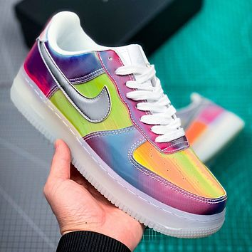 NIKE Air Air Force Fashion New Hook Laser Women Men Multicolor Shoes