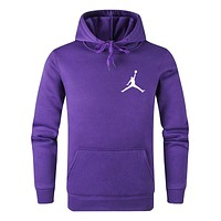 Jordan Trending Couple Leisure Long Sleeve Hoodie Sweater Pullover Top Sweatshirt Purple