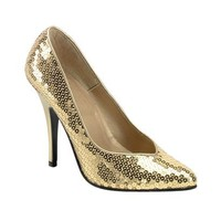 Adults' Sequin High-Heel Costume Shoes - Gold