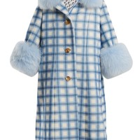 Yvonne fur-trimmed checked-wool coat | Saks Potts | MATCHESFASHION.COM UK