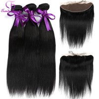 Brazilian Straight Hair 3 Bundles With Lace Frontal Closure 8 -28 inches 4 bundles in total Natural Black Color Trendy Beauty