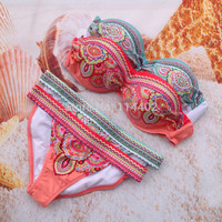NEW ~ HOT Women Lady Sexy Crystal Padded Top Set Strapless Bikini Swimsuit Swimwear