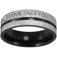 """Black Tone Stainless Steel """"Love Only You"""" Cubic Zirconia Band Ring"""