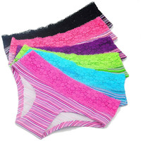 New Hot  Cotton with Lace Side best quality Underwear  Women sexy panties Casual Intimates female Briefs boxers Cute Lingerie