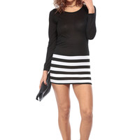 Striped Long Sleeve Casual Dress