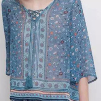 Blue Floral Tie Front Half Bell Sleeve Chiffon Blouse