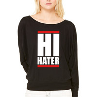 hi hater WOMEN'S FLOWY LONG SLEEVE OFF SHOULDER TEE