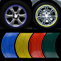 Car Styling 20pcs Strips Motorcycle Car Sticker Wheel Tire Stickers Reflective Rim Tape Motorcycle / Car Exterior Accessories