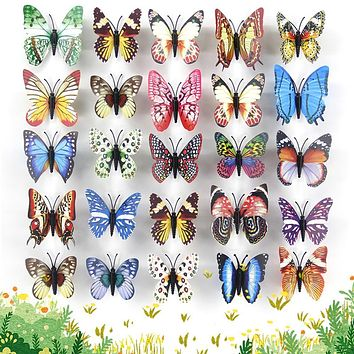 25pcs Butterflies Garden Yard Colorful Whimsical Glow Butterfly Outdoor  Decoration