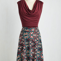 Mid-length Sleeveless A-line Pretty Packages Dress in Spanish Tile