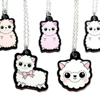 Kawaii Alpaca Jewelry - Cute alpaca necklace - Miniature animal llama camel pendant - Lolita charm