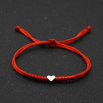 Love Heart Charm Bracelet Women Men Lovers' Wish Good Lucky Red String Braided Adjustable Couple Bracelets Friendship Jewelry