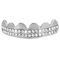 Top Grillz White Finish For Top Teeth Mens