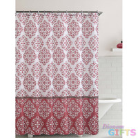 """Shower Curtain- Ashur Red Embossed Microfiber - 72""""x 72"""""""