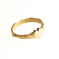 Faceted Heart Ring in Raw Brass - Modern Design 3D Printed, rustic. Ready to ship