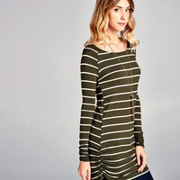Stripe Ruched Long Tunic