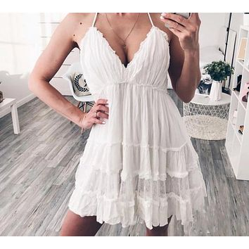 Tazanna Backless Ruffle Lace Dress