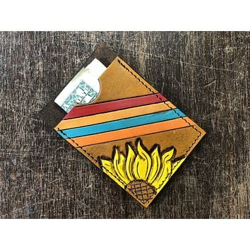 Retro Sunflower Tooled Leather Card Holder Wallet