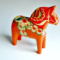 Vintage Swedish Dala Horse Scandinavian Traditional  Folk Art Wooden Figurine G A Olsson