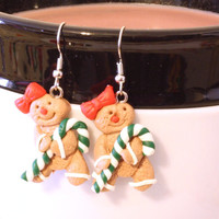 Gingerbread Girl Cookie with candy cane and red bow Repurposed Christmas Ornament Earrings - Womens Jewelry - Holiday Earrings