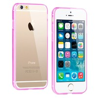 iPhone 6 Crystal Clear Gummy Hybrid Case (Hot Pink)