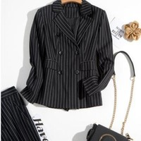 DCCKON3 Womens business setbritish retro casual striped ladies suit ladies professional two piece suit