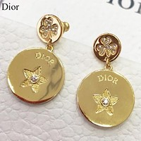 Dior Fashion new round diamond long earring women Golden