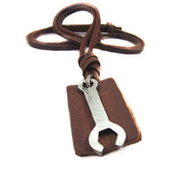 soft leather necklace,wrench pendant men leather long necklace, women leather necklace   PL0230