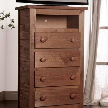 Wooden 4 Drawers Media Chest With 1 Top Shelf In Mahogany Finish, Brown By Casagear Home